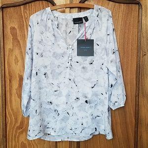 Black & white watercolor print blouse